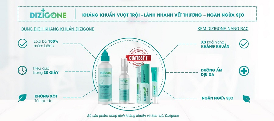 dizigone nhanh lanh vet thuong khong seo - Dizigone Nano Bạc - Kháng khuẩn, tái tạo da, ngăn ngừa sẹo